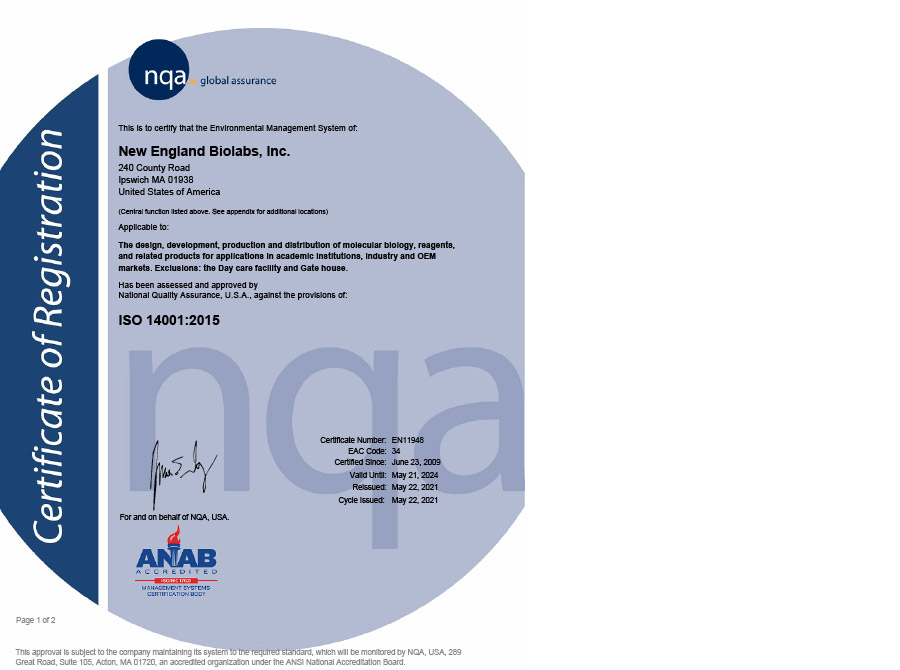 Iso Certifications 14001900113485 Neb
